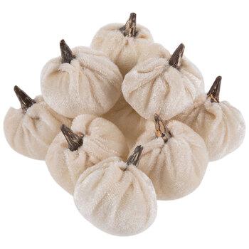 White Mini Velvet Plush Pumpkins