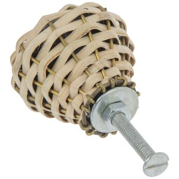 Tan Woven Straw & Metal Wire Knob