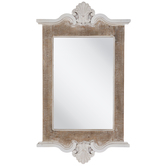 White & Beige Flourish Wood Wall Mirror