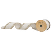 "Cream & Gold Wired Edge Ribbon - 2 1/2"""