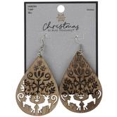 Reindeer Cut-Out Wood Teardrop Earrings