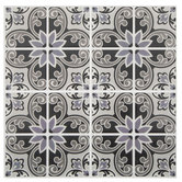 Gray Medallion Tile Adhesive Wall Art