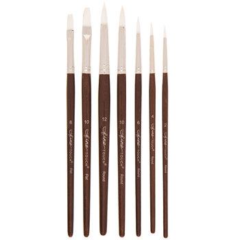 White Nylon Paint Brushes - 7 Piece Set
