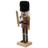 Brown Nutcracker Holding Sword