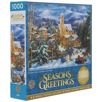 Sledding To Home Season's Greetings Puzzle