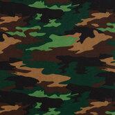 Green & Black Camo Flannel Fabric