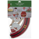 Santa & Snowman Cupcake Wrappers & Toppers