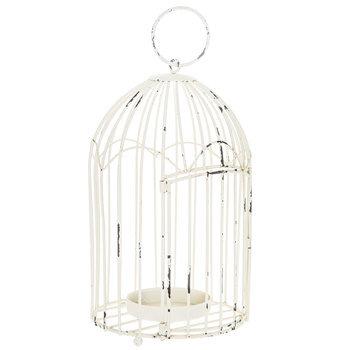Distressed White Metal Bird Cage Lantern