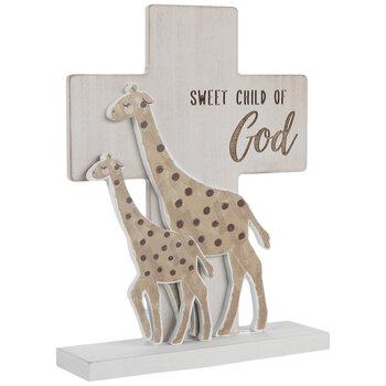 Sweet Child Of God Giraffes Wood Cross