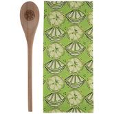 Lemon Kitchen Towel & Wood Spoon