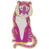 Pink & Gold Tiger Painted Wood Shape