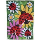 Ladybugs & Flowers Garden Flag