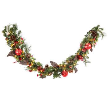 Bells, Berries & Ornaments Pre-Lit Pine Garland
