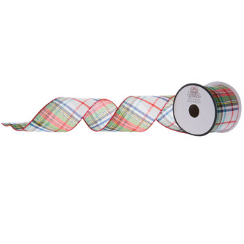 """Red, Green & Blue Plaid Wired Edge Ribbon - 2 1/2"""""""