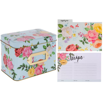 Roses Metal Recipe Box