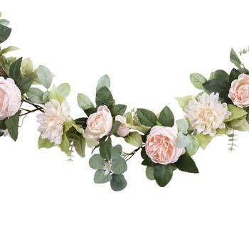 Pink Cabbage Rose & Dahlia Garland