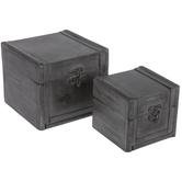 Gray Wood Trunk Box Set