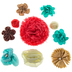 Mint, Coral & Beige Flower Embellishments