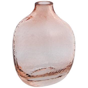 Pink Round Rippled Glass Vase