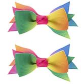 Rainbow Baby Grosgrain Bow Clips