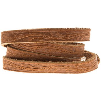 Toffee Floral Tooling Wrap Bracelet