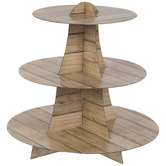 Wood Plank Print Three Tier Cupcake Stand