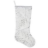 White & Silver Foil Berry Branches Velvet Stocking
