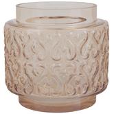 Amber Round Swirl Glass Vase