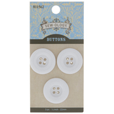 White Round Tire Buttons - 22mm