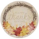 Happy Thanksgiving Wreath Paper Plates - Small