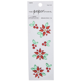 Poinsettia & Holly Rhinestone Stickers