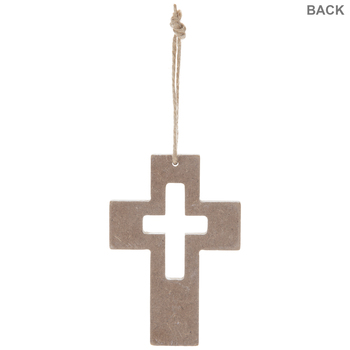Distressed White Wood Wall Cross With Cutout