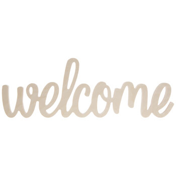 Welcome Script Wood Decor