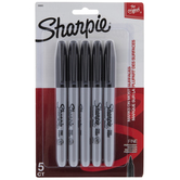 Black Fine Point Sharpie Markers - 5 Piece Set