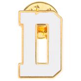 White Letter Metal Pin - D