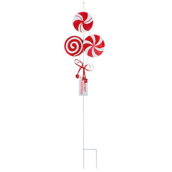 Peppermint Candy Metal Garden Stake