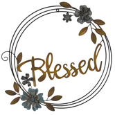 Blessed Floral Hoop Metal Wall Decor