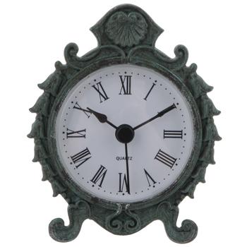 Antique Blue Pewter Metal Clock