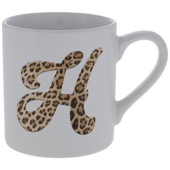 Leopard Print Letter Mug - H