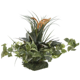 Mixed Greenery And Cattails Topper