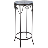 Blue Mosaic Metal Plant Stand