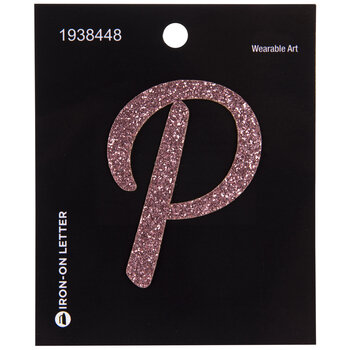 Pink Glitter Letter Iron-On Applique - P