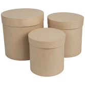 Tall Round Paper Mache Boxes