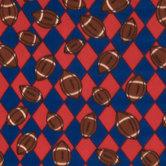 Royal & Red Footballs Fleece Fabric