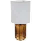 Amber Fluted Glass Lamp