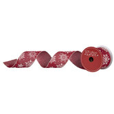 """Snowflakes On Red Wired Edge Ribbon - 2 1/2"""""""