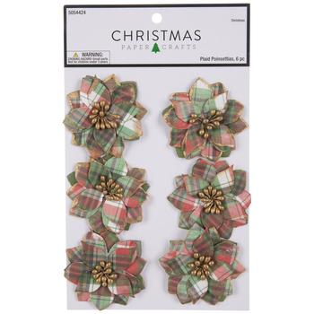 Green, Red & White Plaid Poinsettia Embellishments