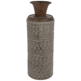 Gray & Bronze Geometric Metal Vase