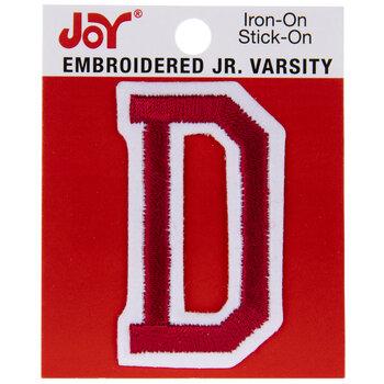 "Red Junior Varsity Letter Iron-On Applique D - 2"""