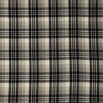 Black, White & Gray Homespun Plaid Cotton Calico Fabric